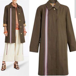 NWT BURBERRY Collegiate Stripe Olive Trench Coat